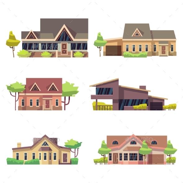 GraphicRiver Private Residential Cottage Houses Icons Colored 21172444