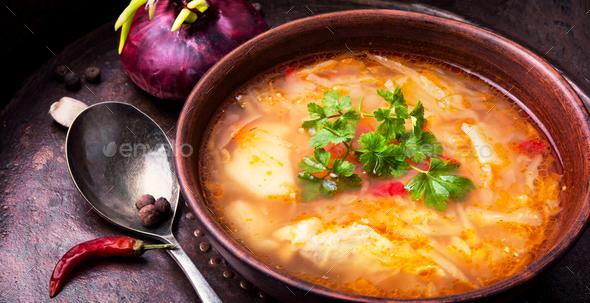 Ukrainian national food-borshch - Stock Photo - Images