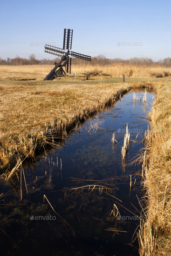 Small windmill in the Weerribben-Wieden - Stock Photo - Images