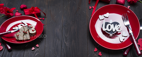 Romantic table setting for Valentines day - Stock Photo - Images