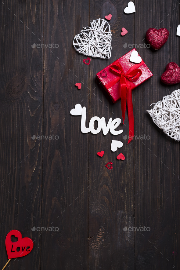 Valentine's day background with love letters and heart shapes. - Stock Photo - Images