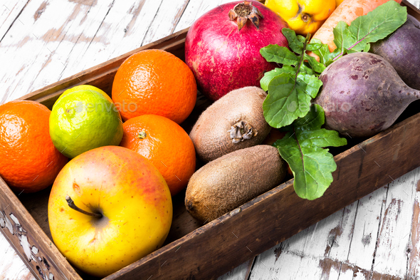 fruit in a wooden box - Stock Photo - Images