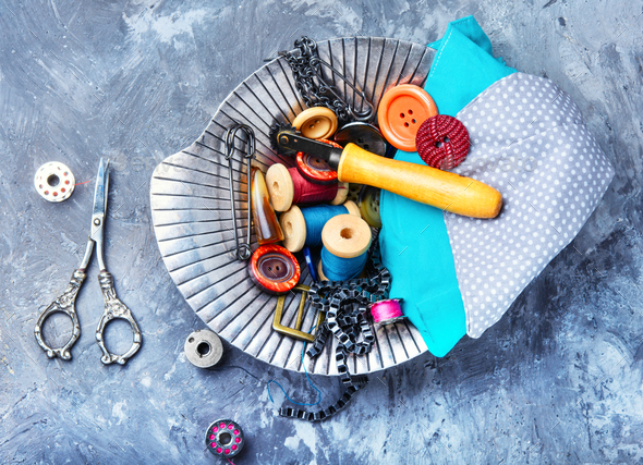 Vintage scissors and thread - Stock Photo - Images