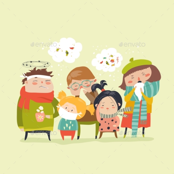 GraphicRiver Sick Children with Fever 21173795