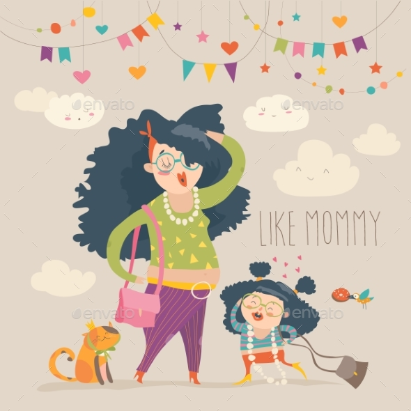 Stylish Mother with Her Daughter - People Characters