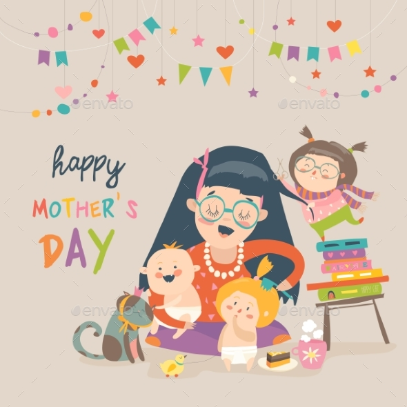 GraphicRiver Happy Mother with Her Children 21173799