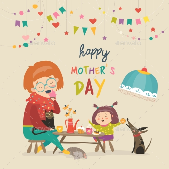 GraphicRiver Happy Mother with Her Daughter 21173801