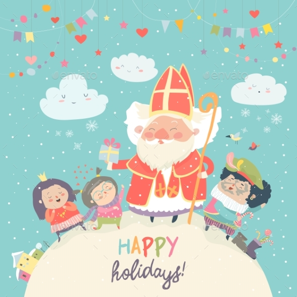 GraphicRiver Saint Nicholas with Kids 21173805