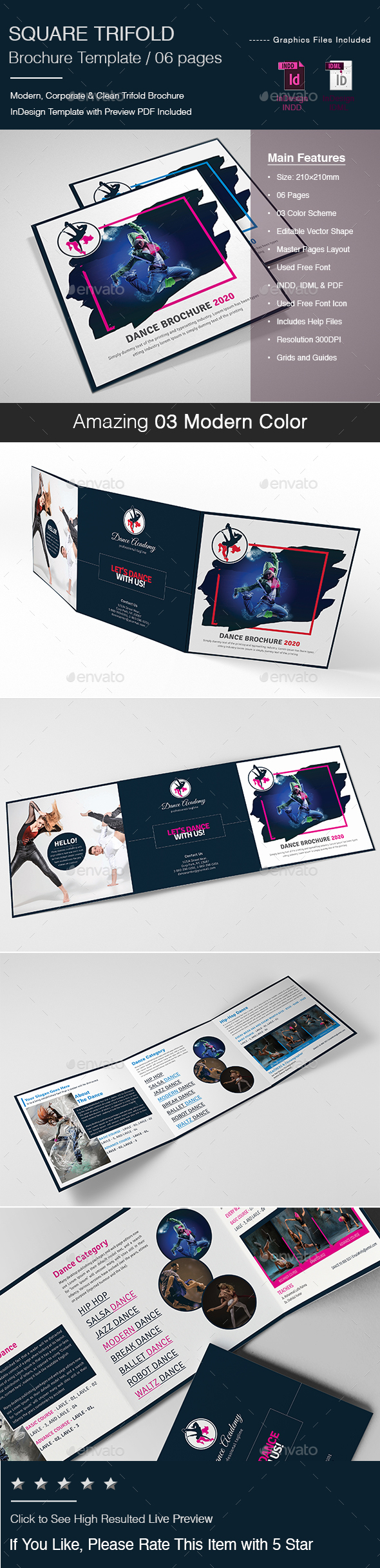 GraphicRiver Square Trifold Brochure Template 21173848