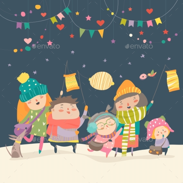 GraphicRiver Happy Kids Celebrating Saint Martins Day 21173893