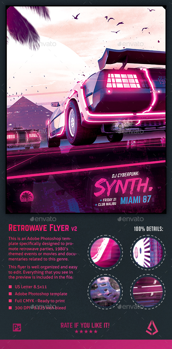 GraphicRiver Synthwave Flyer v2 Neon Dreams Retrowave Poster Template 21173972