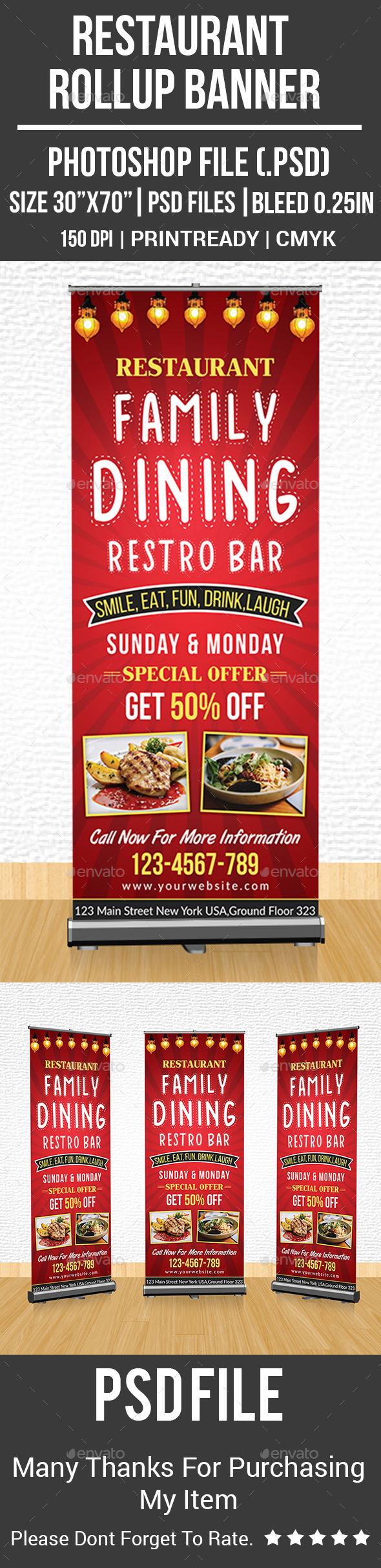 GraphicRiver Restaurant Rollup Banner 21174139