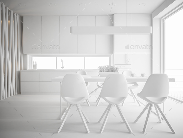 white interior design 3D rendering - Stock Photo - Images