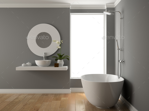 Interior of bathroom 3D rendering - Stock Photo - Images