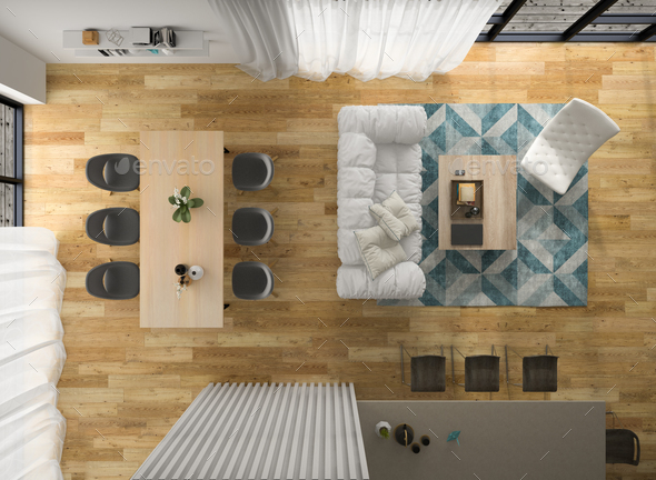 Interior modern design room top view 3D illustration - Stock Photo - Images