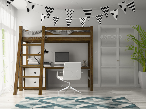 part of Interior with wigwam 3D rendering - Stock Photo - Images