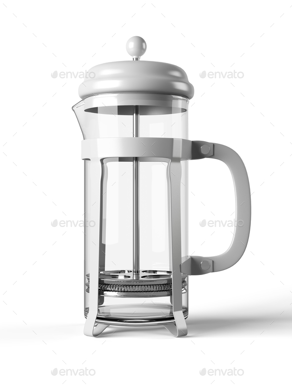 French press isolated on a white background 3D rendering - Stock Photo - Images