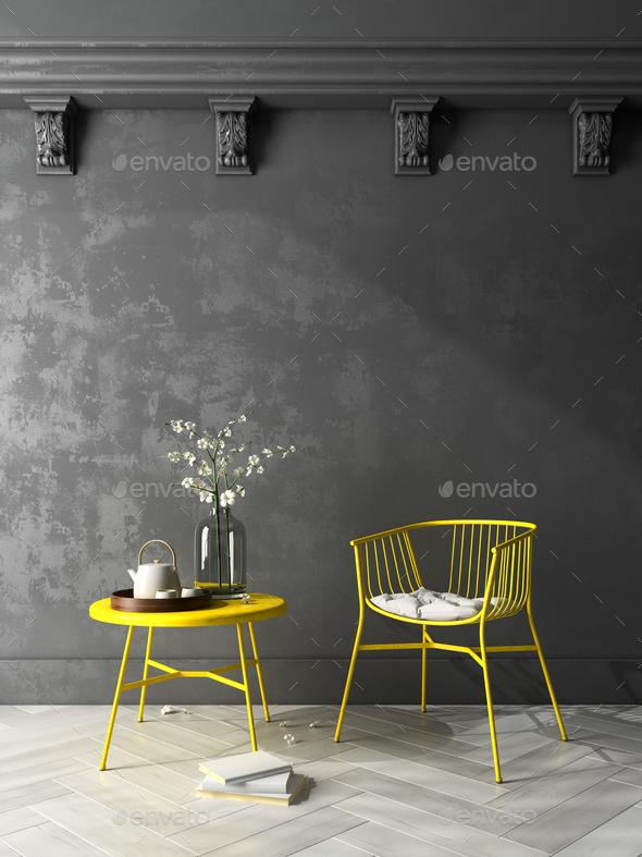 Interior modern design room 3D illustration - Stock Photo - Images