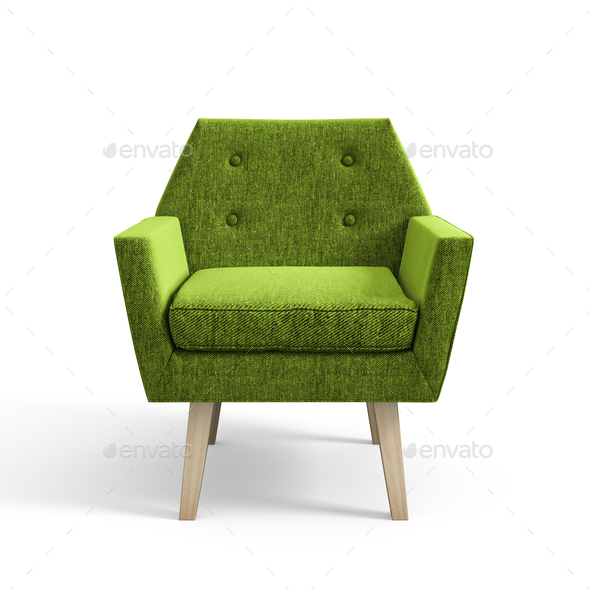 Armchair isolated on white background 3D rendering - Stock Photo - Images