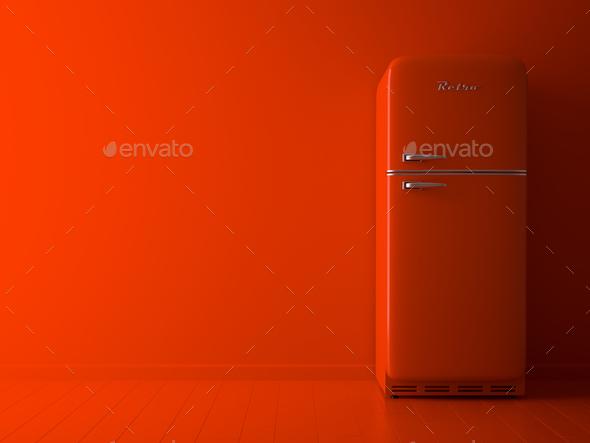 Interior with orange fridge 3D illustration - Stock Photo - Images