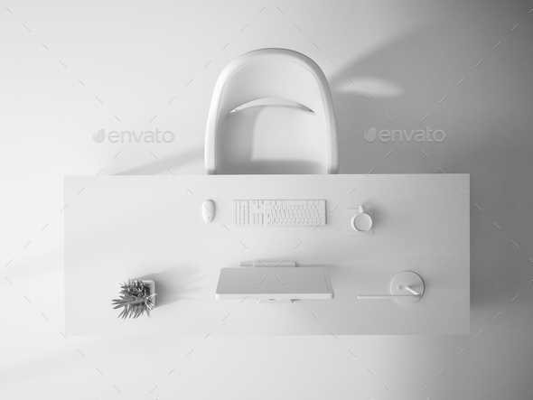 white interior top view 3D rendering - Stock Photo - Images