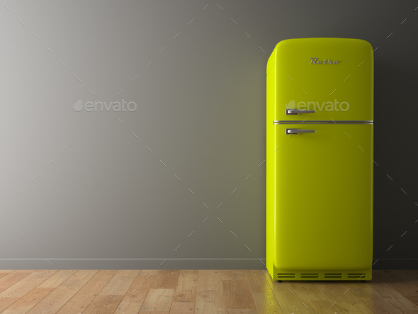 Interior with green fridge 3D illustration - Stock Photo - Images