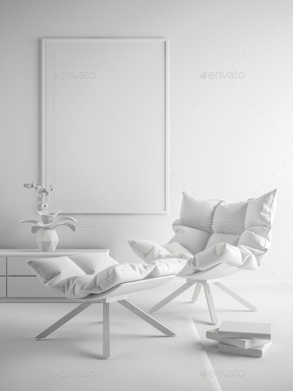 White Interior modern design room 3D illustration - Stock Photo - Images