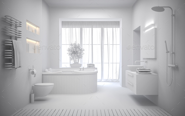 white Interior of the modern bathroom 3D rendering - Stock Photo - Images