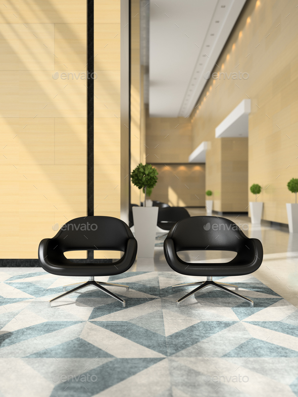 Interior of a hotel reception 3D illustration - Stock Photo - Images