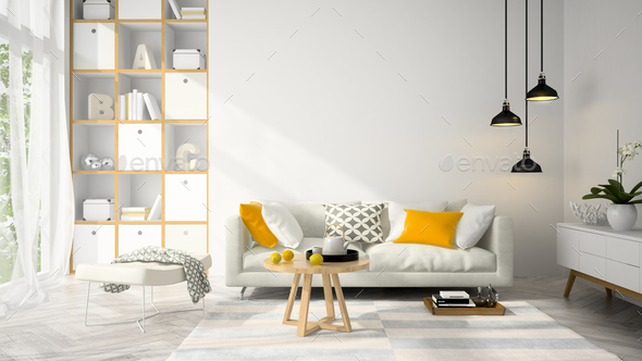 Interior modern design room 3D illustration - Stock Photo - Images