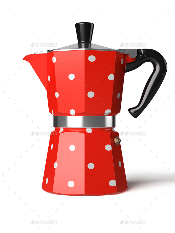 Vintage coffee pot isolated on a white background 3D rendering - Stock Photo - Images