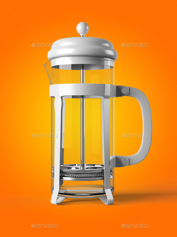 French press isolated on a background 3D rendering - Stock Photo - Images