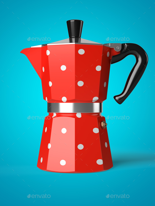 Vintage coffee pot isolated on a background 3D rendering - Stock Photo - Images
