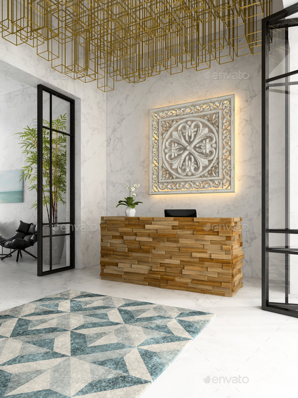 Interior of a hotel spa reception 3D illustration - Stock Photo - Images