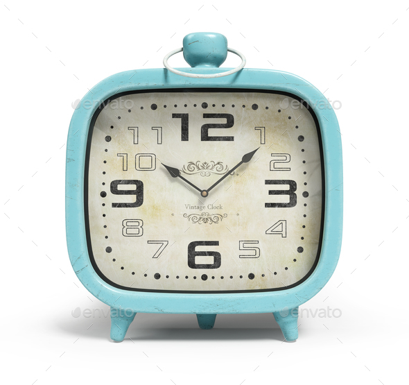 Retro alarm clock isolated on white background 3D rendering - Stock Photo - Images
