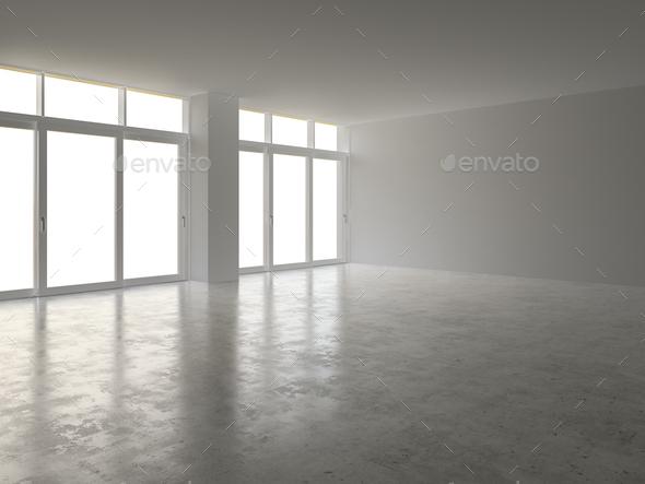Interior empty room 3D rendering - Stock Photo - Images