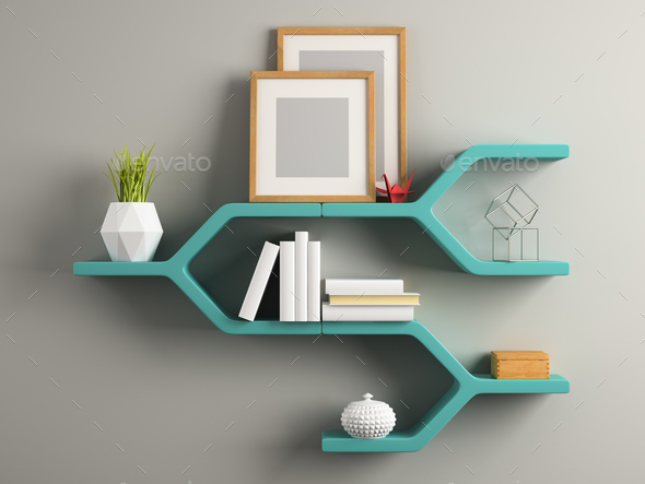 Part of interior with the shelf 3D illustration - Stock Photo - Images