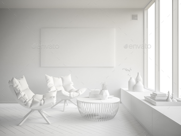White Interior modern design room 3D illustration - Stock Photo - Images