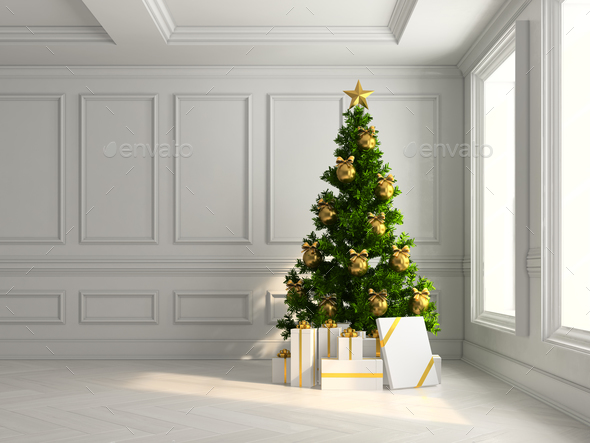 interior with christmas tree and gift boxes 3d illustration - Stock Photo - Images