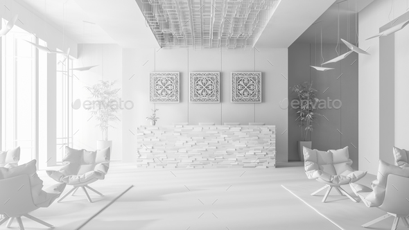 White Interior of a hotel spa reception 3D illustration - Stock Photo - Images
