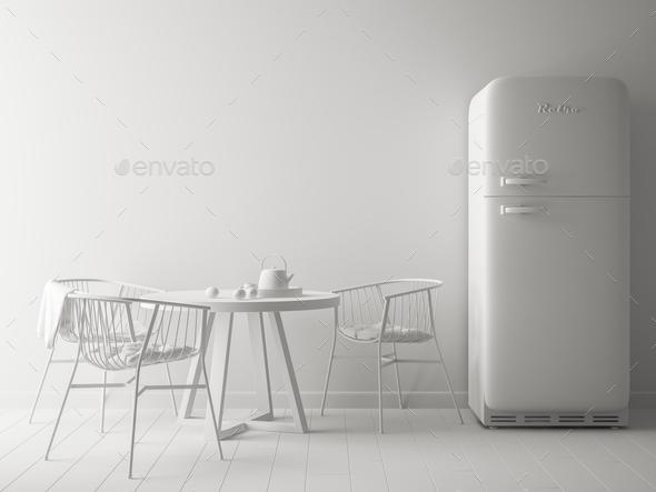 white interior design 3D rendering - Stock Photo - Images