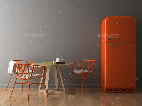 Interior with orange fridge 3D illustration - Stock Photo - Images
