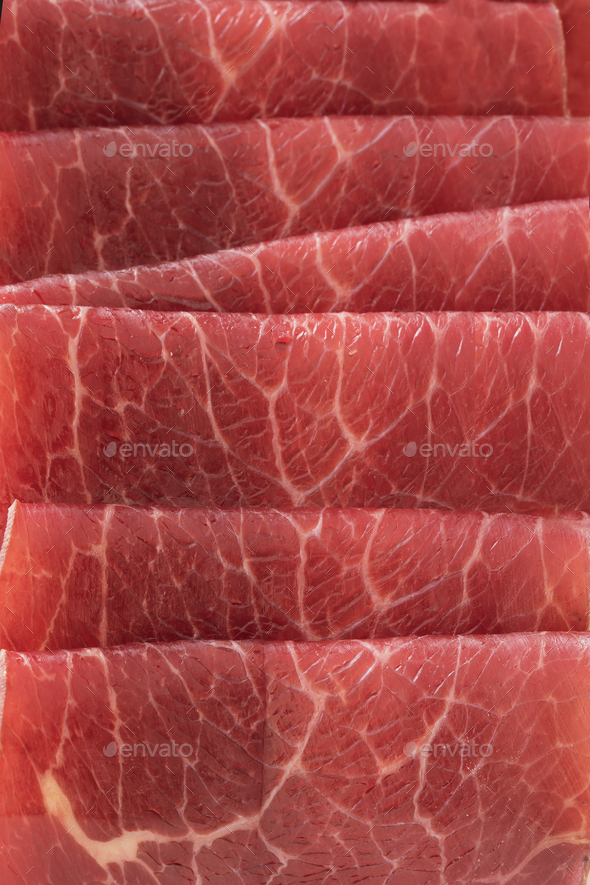 Bresaola Slices Close Up - Stock Photo - Images