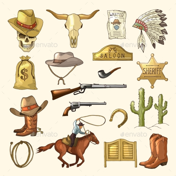 Colored Illustrations of Wild West Symbols - Miscellaneous Vectors