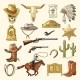 Colored Illustrations of Wild West Symbols