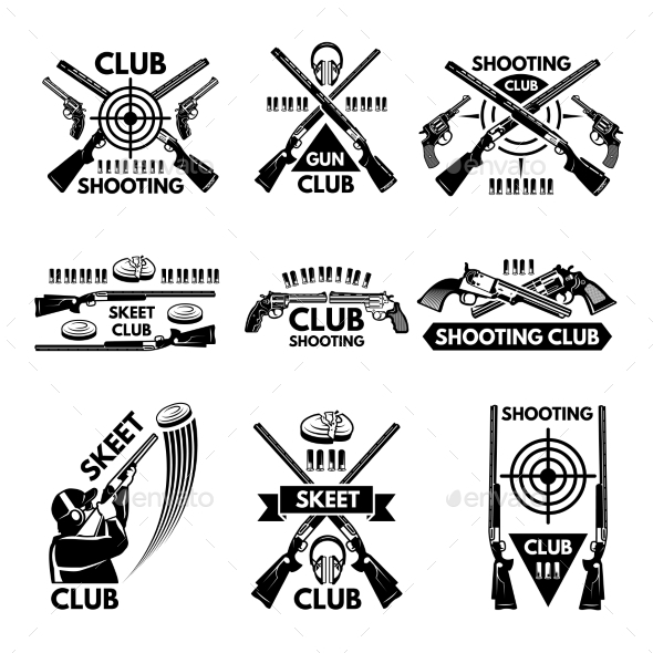 GraphicRiver Labels Set for Shooting Club 21174303