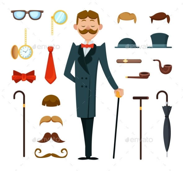 GraphicRiver Fashioned Retro Gentleman with Different Accessories 21174315
