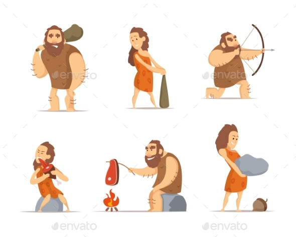 GraphicRiver Characters of Male and Female Primitive Cave 21174322