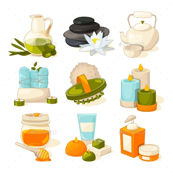 Vector Symbols of Massage or Spa Salon - Man-made Objects Objects