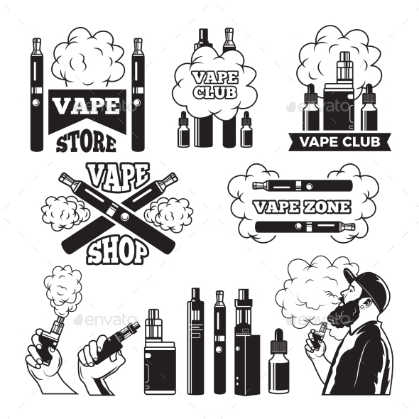 GraphicRiver Monochrome Labels Set for Vaping and Smoking Club 21174366